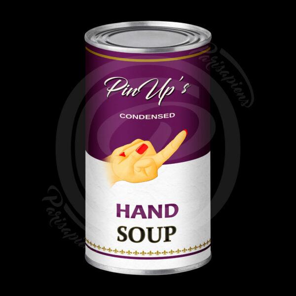 Art-Numérique Pop-Art soupe de main de PinUp façon Campbell's Soup d'Handy Warhol
