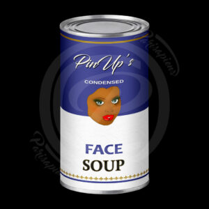 Art-Numérique Pop-Art soupe de visage de PinUp façon Campbell's Soup d'Handy Warhol