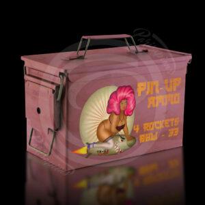 Art-Numérique Pop-Art caisse militaire rose de roquettes BBW pour PinUp