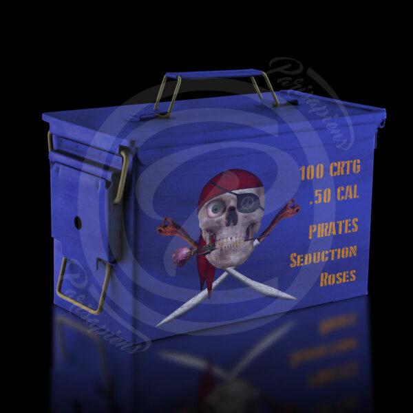 Art-Numérique Pop-Art caisse de munition militaire, 100 roses pour pirate séducteur