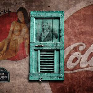 Photo-montage street-art dans Paris 18éme, une Pinup, un Cola Rue Lamarck