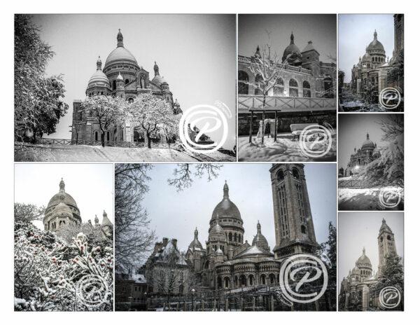Pack de 7 photos du Sacré Coeur sous la neige